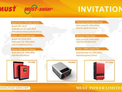 Warmly Welcome to Join Must Power Limited Exhibitions in 2016