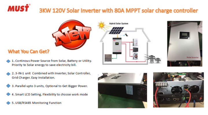 NEWEST HYBRID SOLAR INVERTER PH1800 110V 3KW SERIES ARRVIAL!!